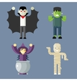 Halloween Characters Icons Set on Stylish vector image
