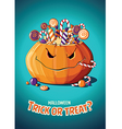 Halloween vintage poster Trick or treat Pumpkin vector image