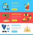 summer rest banner horizontal set vector image