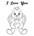 Rabbit with Heart Contour vector image vector image