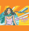 beautiful young woman at the airport vector image