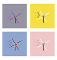 flat icon design collection three wind turbines vector image vector image