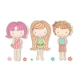 three girls little funny isolated cartoon vector image vector image