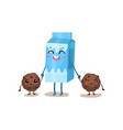 cute box of milk and cookies characters are best vector image