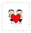 Valentine day Couple with big red heart for your vector image