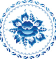 White and blue ornament flowers traditional vector image