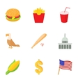 State of USA icons set cartoon style vector image