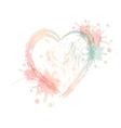 watercolor heart with splash vector image vector image
