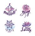 Set of yoga studio and meditation class logo vector image