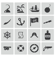 black pirates icons set vector image