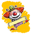 Clown Holding a Label vector image