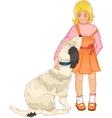 Little girl strokes a dog vector image