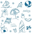 Blue summer doodle image vector image