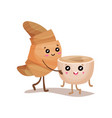 cute croissant and coffee cup characters cartoon vector image