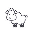 cute sheep line icon sign on vector image