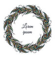 feather wreath hand drawn in boho vector image