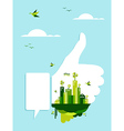 Go green thumb up hand vector image