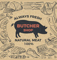 retro poster for butcher shop hand drawn vector image