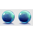 Two big blue glass spheres vector image