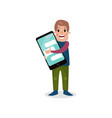 young man holding giant smartphone internet vector image