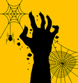 Zombie hand with spider web for halloween day vector image