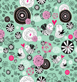 floral texture with birds in love vector image vector image