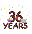36th birthday party design vector image