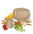 a barrel mug wheat hops vector image