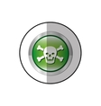 middle shadow sticker of skull and bones in circle vector image