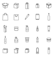 Packaging line icons on white background vector image