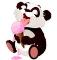Panda eating ice cream vector image