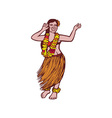 Polynesian Dancer Grass Skirt Linocut vector image