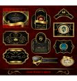 Set black gold framed label vector image