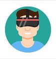 VR helmet man flat icon vector image vector image