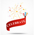 Celebration ribbon with fireworks vector image