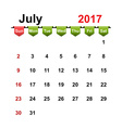 simple calendar 2017 year july month vector image