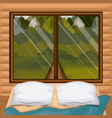 Colorful background interior wooden cabin with bed vector image