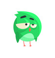 cute little green thoughtful chick bird standing vector image vector image