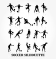 Soccer player silhouette collection vector image