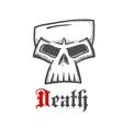 Sullen skull sketch symbol for tattoo design vector image vector image