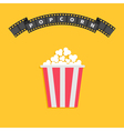 Popcorn Big film strip round wave ribbon line with vector image