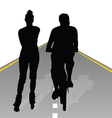 couple recreate on bike and roller vector image