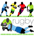 rugby players silhouettes set vector image