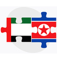United Arab Emirates and Korea-North Flags vector image