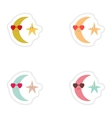 Set of paper stickers on white background moon and vector image