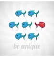 Be unique concept blue red fish isolated vector image