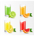 citrus juice in glass orange lime grapefruit vector image