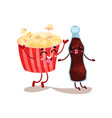 cute movie popcorn and soda characters are best vector image