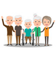 group of elderly people stand together health vector image
