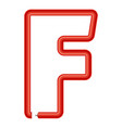 letter f plastic tube icon cartoon style vector image